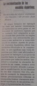 En 1920, la Revista Deportes, Teatro y Toros ya abogaba por la españolización del foot-ball