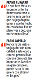 """Reijkaard y Capello elogian a Messi en páginas de """"mundo Deportivo"""" de 25 de agosto de 2005"""