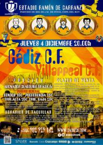 """Cartel del partido de Copa 2014(15 entre Cádiz CF y Villarreal CF con alusiones al """"Submarino Amarillo"""""""