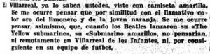 """Recorte de el diario """"El Sitio"""" de Gerona de 1970 alusivo al Villarreal como """"Submarino Amarillo"""""""