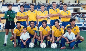 "Cádiz CF ""B"" 1986/87. Maye, Raúl Procopio, Fernández, Cortijo, Jose Glez., Calderón, Barla, Escobar, Bola, Rafael, Poli. Foto de Cadistas1910."