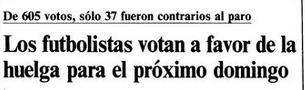 """Los futbolistas deciden mayoritariamente ir a la huelga (""""El País"""", 4 de septiembre de 1984)."""
