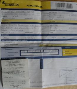 """Resguardo de """"Correos"""" del envío de la carta a Zubizarreta"""