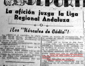 """Noticia en prensa alentando al equipo con """"¡Ese Hércules de Cádiz!"""""""