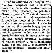 """recorte del diario """"El Sitio"""" de Gerona de 1970 aludiendo al """"desconocido submarino amarillo"""" de Villarreal"""