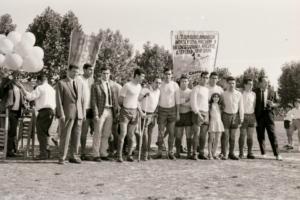 """Foto con pancarta alusiva al """"Submarino Amarillo"""" del Villarreal en la previa del partido del ascenso a 2ª en 1970"""