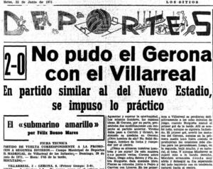 """El Diario """"El Sitio"""" de Gerona hace alusión al Villarreal CF como el """"Submarino Amarillo"""" en 1970"""