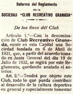 Fundación del Recreativo Granada
