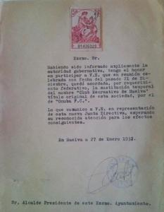 Cambio de nombre del Recreativo de Huelva a Onuba FC