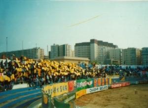 Fondo Sur con Brigadas Amarillas aprovechando vallas para colocar sus banderas y pancartas.