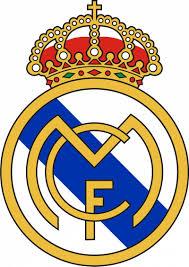 Escudo del Real Madrid CF sustituyendo la franja morada por una azul