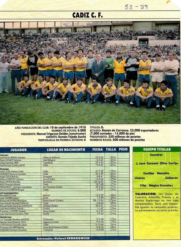 """Ficha del Cádiz CF de la temporada 1988-89 publicada en la revista """"Interviú""""."""