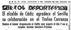 ABC (9/8/1958). Agradecimiento del alcalde de Cádiz hacia el Sevilla CF.