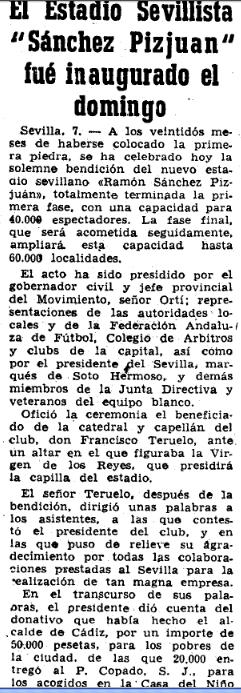 Mundo Deportivo (9/9/1958). Crónica de la inauguración del estadio Ramón Sánchez Pizjuán.