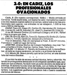 Crónica del partido (Mundo Deportivo, 10 de septiembre de 1984)