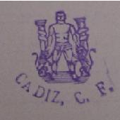 Sello del Cádiz CF con Hércules, leones y columnas.